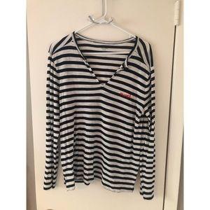 Madewell Black & White Striped Mwah Tee